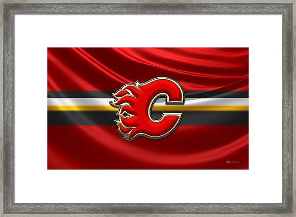 Calgary Flames - 3d Badge Over Flag Framed Print