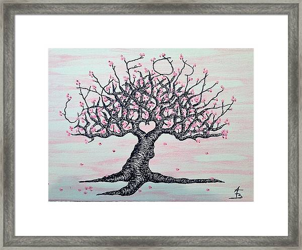 Framed Print featuring the drawing California Cherry Blossom Love Tree by Aaron Bombalicki