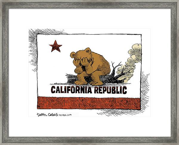 California Fire Bear Grieves Framed Print
