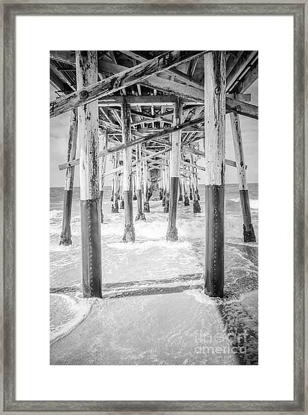 California Pier Black And White Picture Framed Print