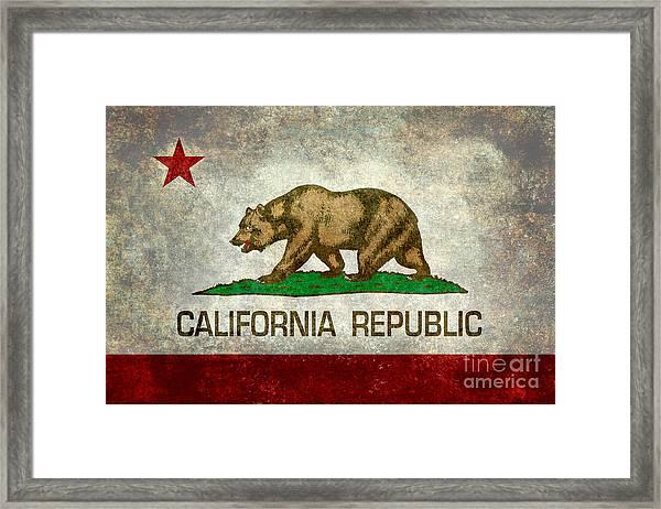 California Republic State Flag Retro Style Framed Print