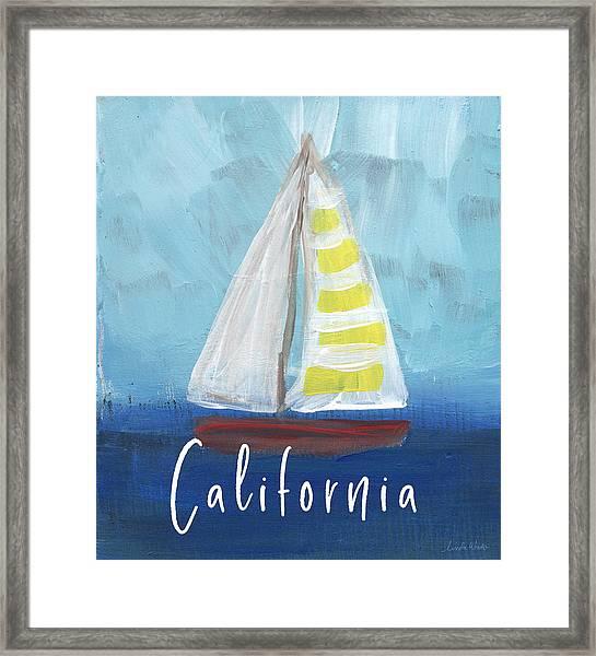 California Sailing- Art By Linda Woods Framed Print