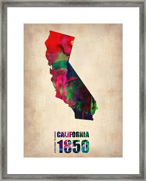 California Watercolor Map Framed Print