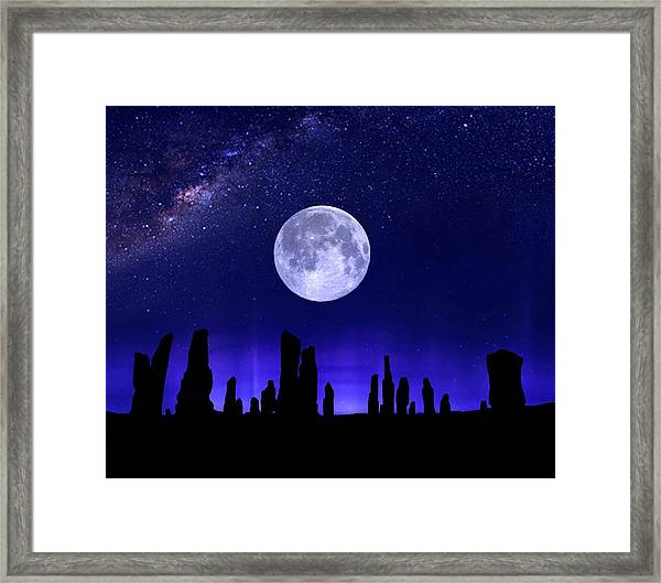 Callanish Stones Under The Supermoon.  Framed Print