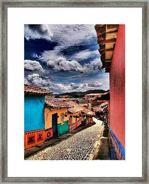Framed Print featuring the photograph Calle De Colores by Skip Hunt