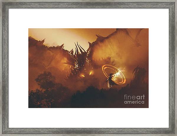 Framed Print featuring the painting Calling Of The Dragon by Tithi Luadthong