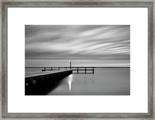 Calm Barnegat Bay New Jersey Black And White Framed Print
