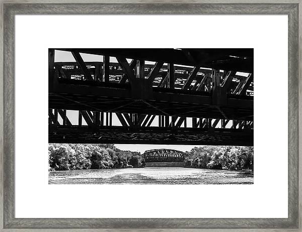 Calumet River Bridges In Black And White  Framed Print