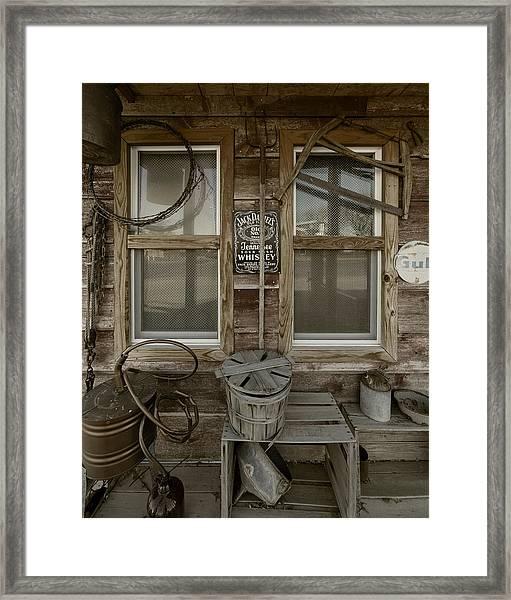 Calvins Garage In Deshler Nebraska Framed Print