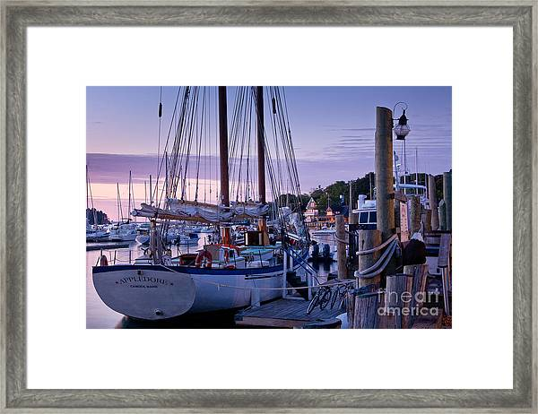 Framed Print featuring the photograph Camden Windjammer Dawn by Susan Cole Kelly