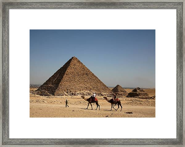 Camel Ride At The Pyramids Framed Print