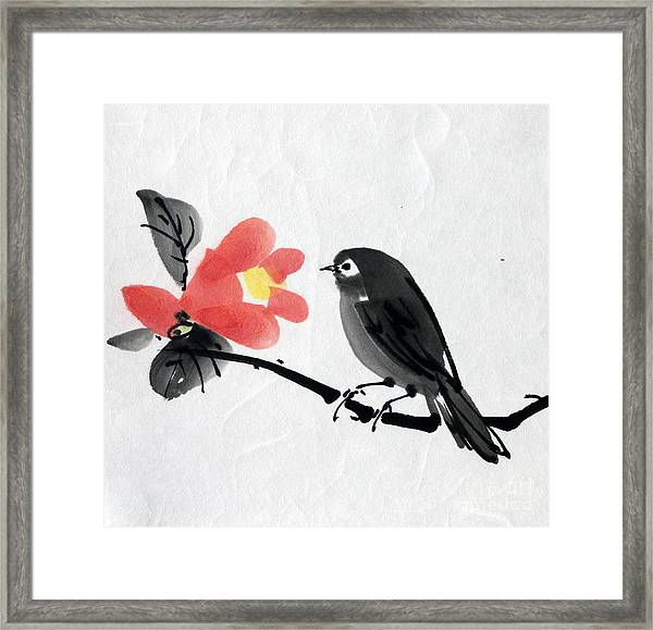 Camellia And A Little Bird Framed Print