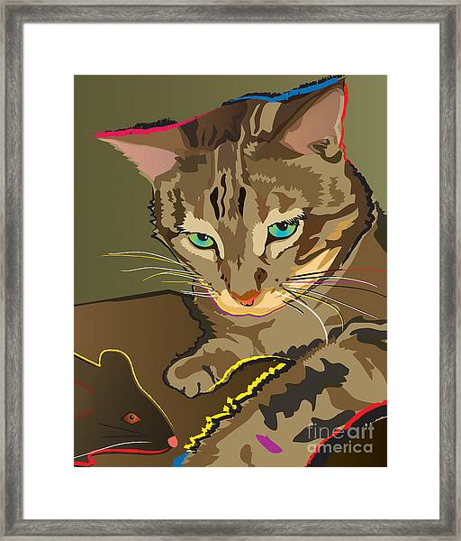 Camouflage Bengal Cat Framed Print