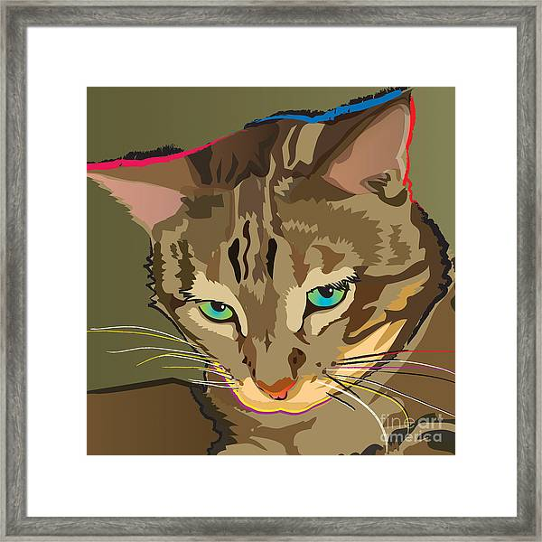 Camouflage Bengal Cat Square Framed Print