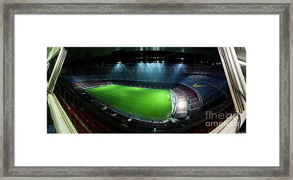 Camp Nou At Night Framed Print