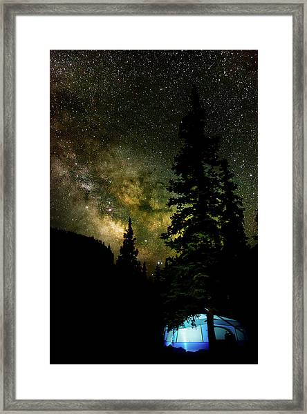Camping Under The Milky Way Framed Print