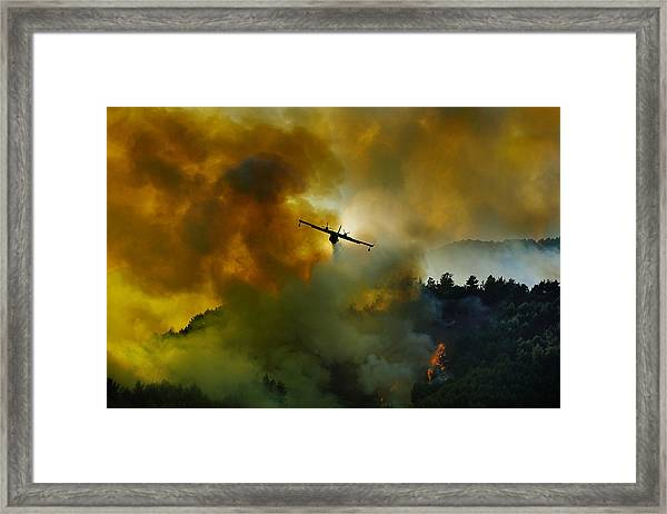 Canadair Aircraft In Action - Fighting For The Salvation Of The Forest. Framed Print by Antonio Grambone