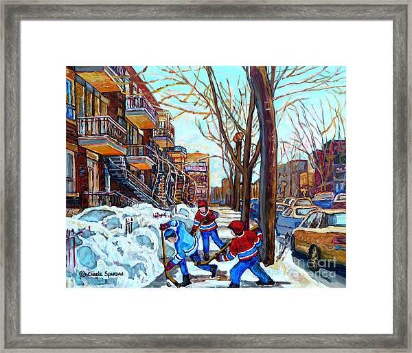 Canadian Art Street Hockey Game Verdun Montreal Memories Winter City Scene Paintings Carole Spandau Framed Print