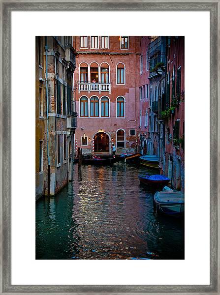 Canal At Dusk Framed Print