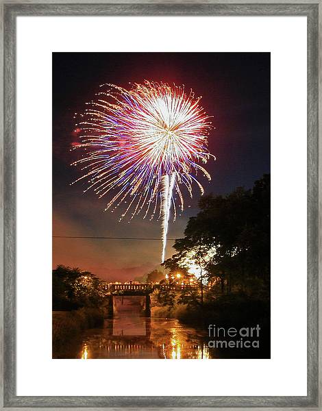 Canal View Of Fire Works Framed Print