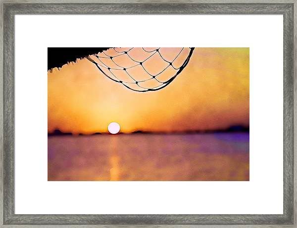 Cancun Sunset On The Lake Framed Print