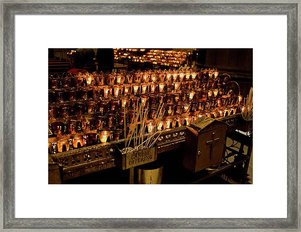 Framed Print featuring the photograph Candle Offerings St. Patrick Cathedral by Lorraine Devon Wilke