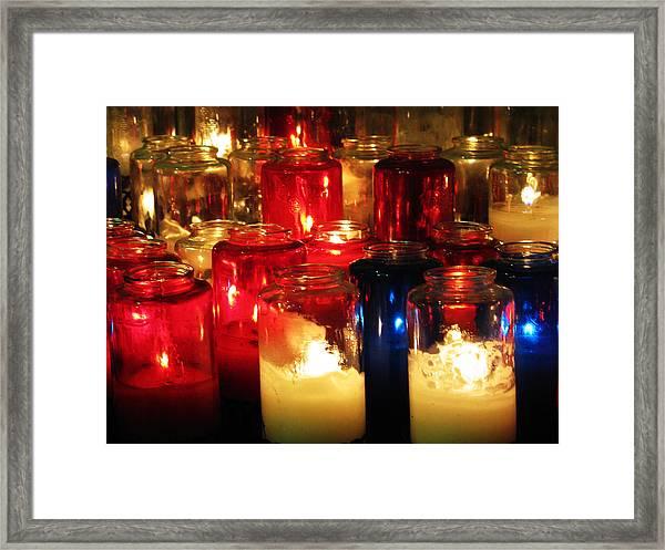 Candles At Mission San Gabriel Framed Print