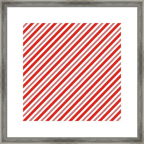 Candy Canes Stripes- Art By Linda Woods Framed Print