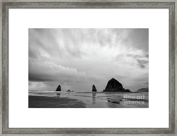 Cannon Beach In Black And White Framed Print