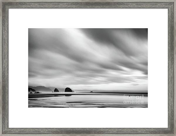 Cannon Beach Long Exposure Sunrise In Black And White Framed Print