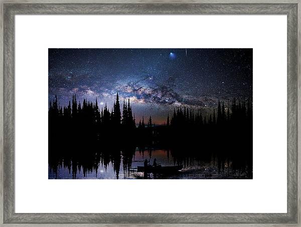 Canoeing - Milky Way - Night Scene Framed Print