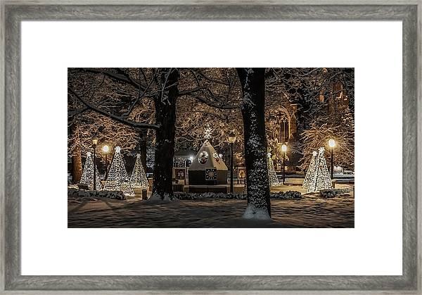 Canopy Of Christmas Lights Framed Print