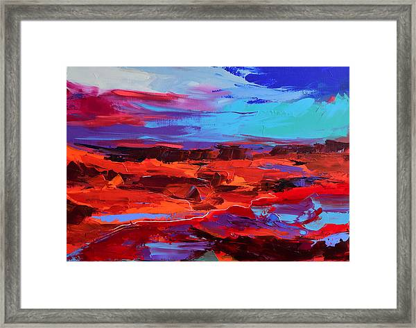 Framed Print featuring the painting Canyon At Dusk - Art By Elise Palmigiani by Elise Palmigiani