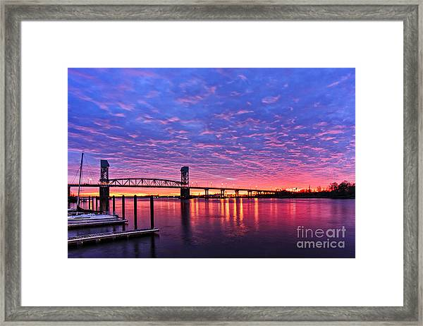 Framed Print featuring the photograph Cape Fear Bridge1 by DJA Images