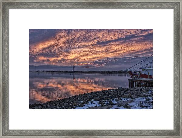 Cape May Harbor Sunrise Framed Print