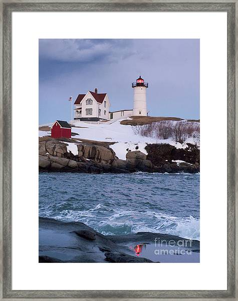 Cape Neddick Light At Dusk, York, Maine 21073 Framed Print