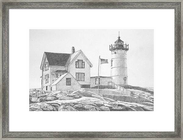 Framed Print featuring the drawing Cape Neddick Light House Drawing by Dominic White