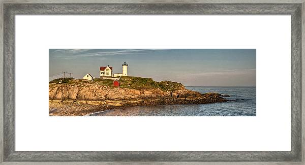 Cape Neddick Lighthouse Island In Evening Light - Panorama Framed Print