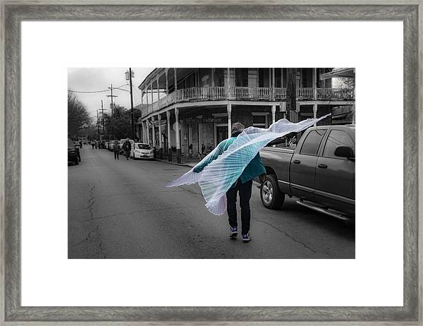 Caped Street Dancer On Frenchmen Street Framed Print