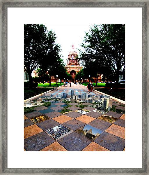 Capital City Collage Austin Texas Framed Print