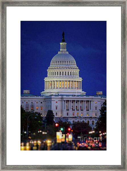 Capitol At Dusk Framed Print