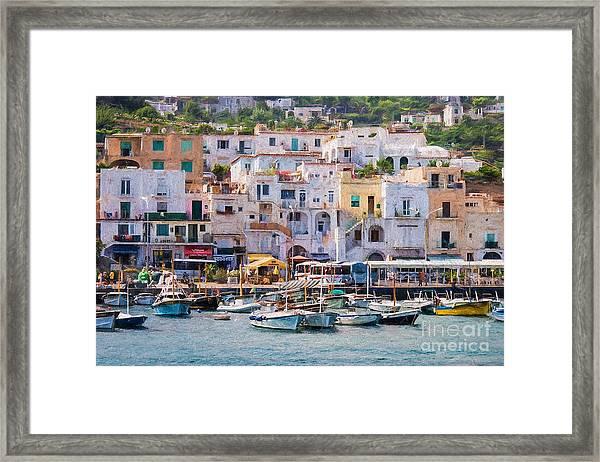 Capri Boat Harbor Framed Print