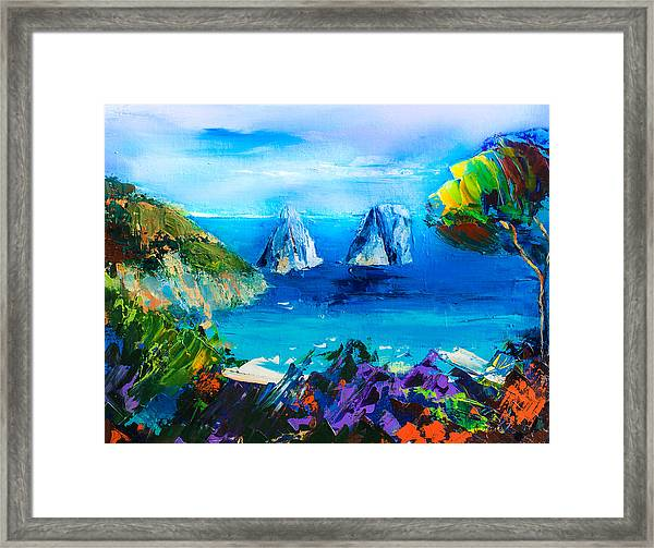 Framed Print featuring the painting Capri Colors by Elise Palmigiani