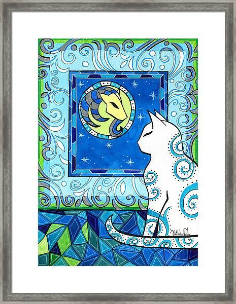 Capricorn Cat Zodiac Framed Print