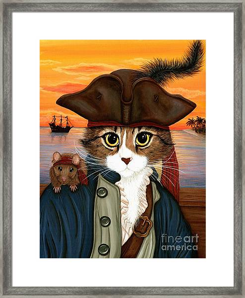 Captain Leo - Pirate Cat And Rat Framed Print