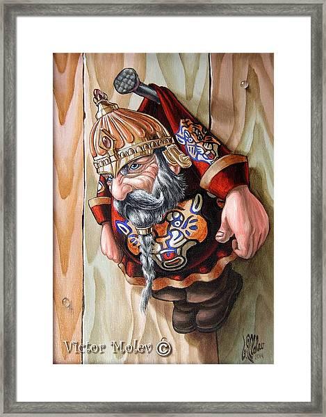 Captive Dwarf In Tiger Suit Framed Print