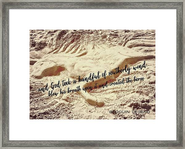 Captured In The Sand Quote Framed Print