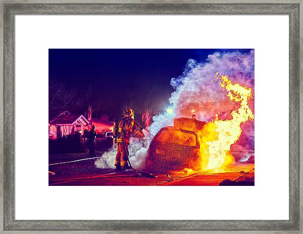 Car Arson  Framed Print
