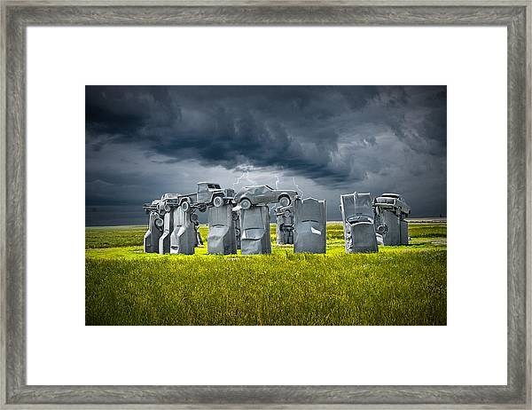Car Henge In Alliance Nebraska After England's Stonehenge Framed Print