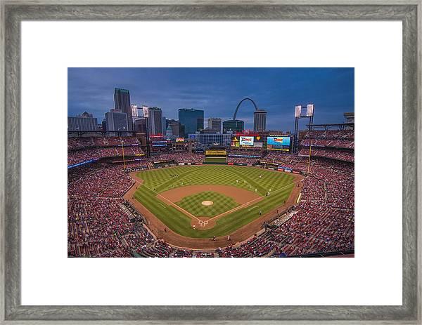 Cardinal Nation Busch Stadium St. Louis Cardinals Twilight 2015 Framed Print